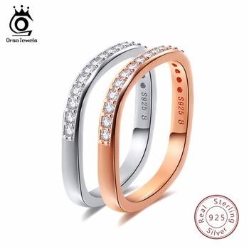 5cb7741a83dd ORSA JEWELS 925 Real de plata de los hombres de las mujeres anillos de plata  esterlina Color oro Color de rosa 3 estilos hombre boda banda mujeres  joyería ...