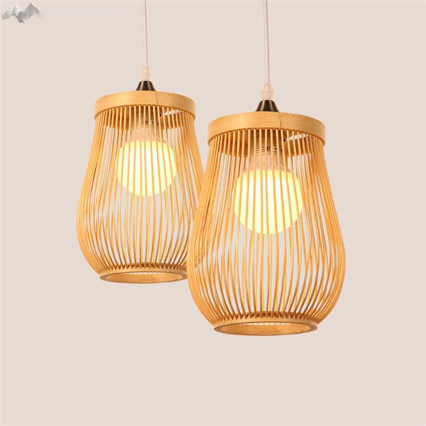 LFH moderne style rural solide en bois créatif pendentif lumière bois abat-jour suspension lampe salle à manger décorer luminaire