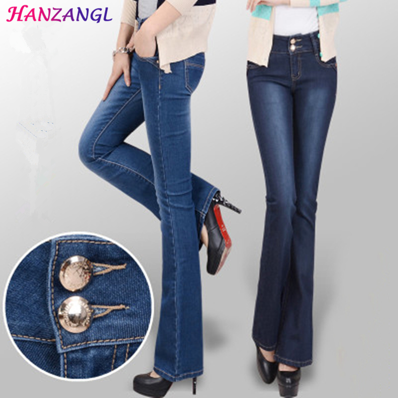 HANZANGL Women's Slim Mid Waist Boot Cut Jeans Fashion Bell Bottom Trousers Flares Pants Free Shipping