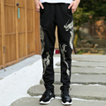 Dragon embroidered men pants big size M-5XL high quality cotton trousers elastic waist male casual sweatpant