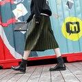 2016 inverno coreano vintage veludo elástico de cintura alta saia longa plissada saias mulheres saias longas quentes