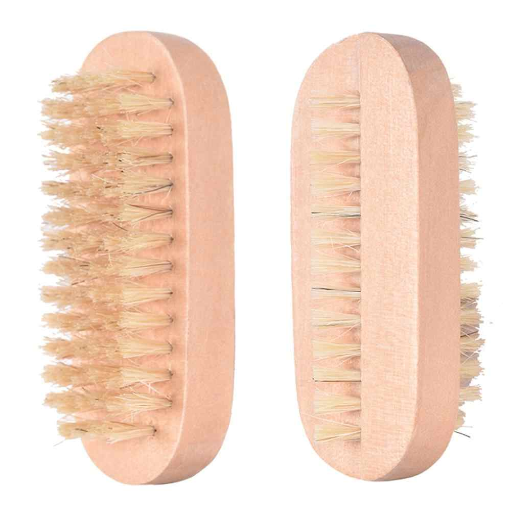 Houten Handvat Dubbelzijdig Bristle Nail Brush Manicure Pedicure Soft Verwijder Dust Nagels Cleaning Tools