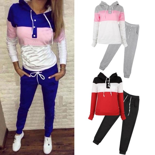 2 Pcs Nouvelles Femmes De Mode Casual Taille Élastique Imprimer Survêtement Sweat À Capuche Pull Pantalon Jogger Tenues Ensemble