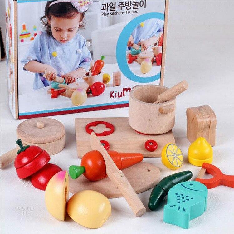 Enfants haute qualité cuisine journal fruits et jeux, cuisine fruits jouets ensemble/Kits de construction modèle, enfants en bois cuisine jouets cadeau