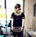Hot 2017 Moda de Luxo Coreano Yeezus T Shirt Dos Homens 3d Mens Camisas Designer De espinhel Estendida Tee Marca Casuais Homens de Ouro Tshirt