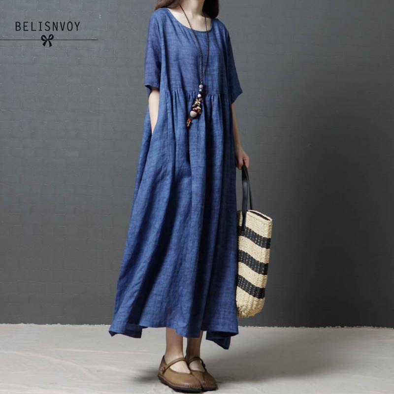 Summer Fashion Korean Plus Size Cotton Linen Vintage Dress Casual Loose O-neck Three Quarter Sleeves Maxi Dress Vestidos Elbise