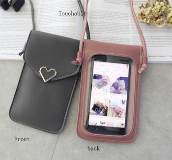 Damskie ekran dotykowy saszetka na telefon komórkowy przezroczysty prosty torba nowy hasp krzyż portfele smartfon na ramię ze skóry światła torebki