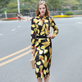 High Quality Women's Runway Set 2017 Spring Summer Woman Long Sleeve Vintage Print Top and Pencil Skirt Suit Set Office Outfits