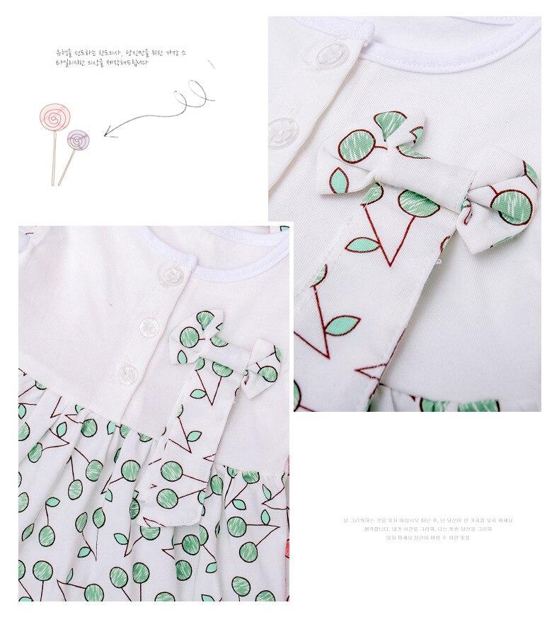 Cherry Baby Girls Sukienki Cotton Newborn Dress Toddler Babies stroje - Odzież dla niemowląt - Zdjęcie 3