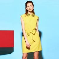 Yellow Summer Dress Plus Size Sleeveless 2017 Women Bodycon Dress Lace Up Peter Pan Collar Fashion