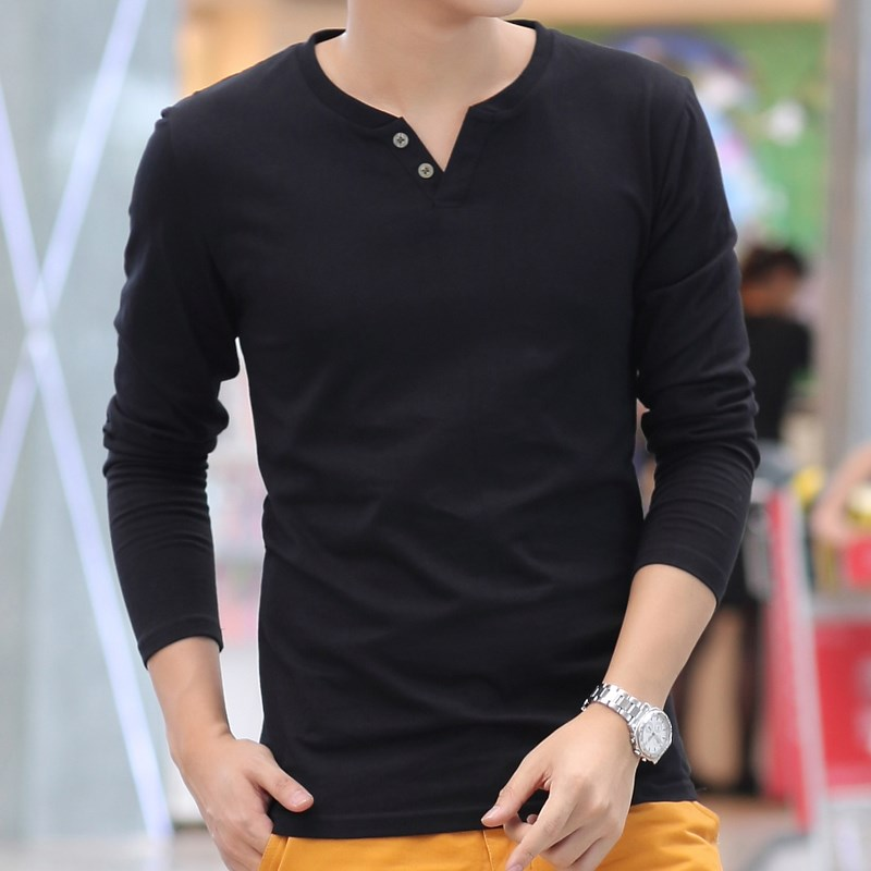 2018 Autumn men long-sleeved T shirt solid color V-neck bottoming shirt tide wild Slim men's cotton tops tees AK201