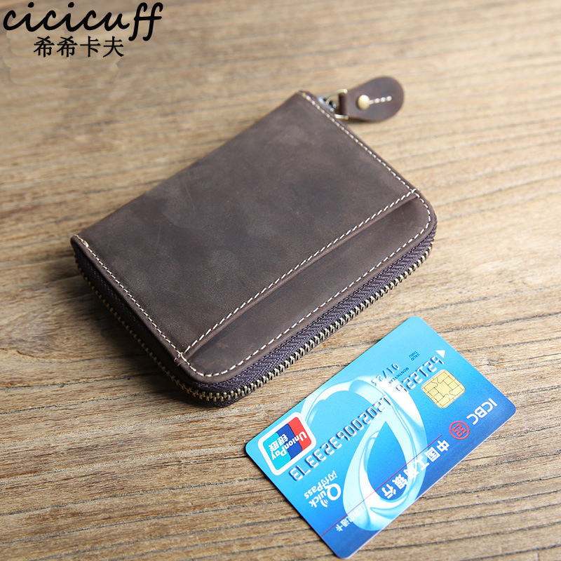CICICUFF Vintage Small Wallet Men Genuine Cow Leather Card Holder Wallet Zipper Coin Purse for Women Change Purse Money Bags mynos vintage luxury brand design 100% genuine leather long wallet for men women zipper purse with card holder coin purse wallet