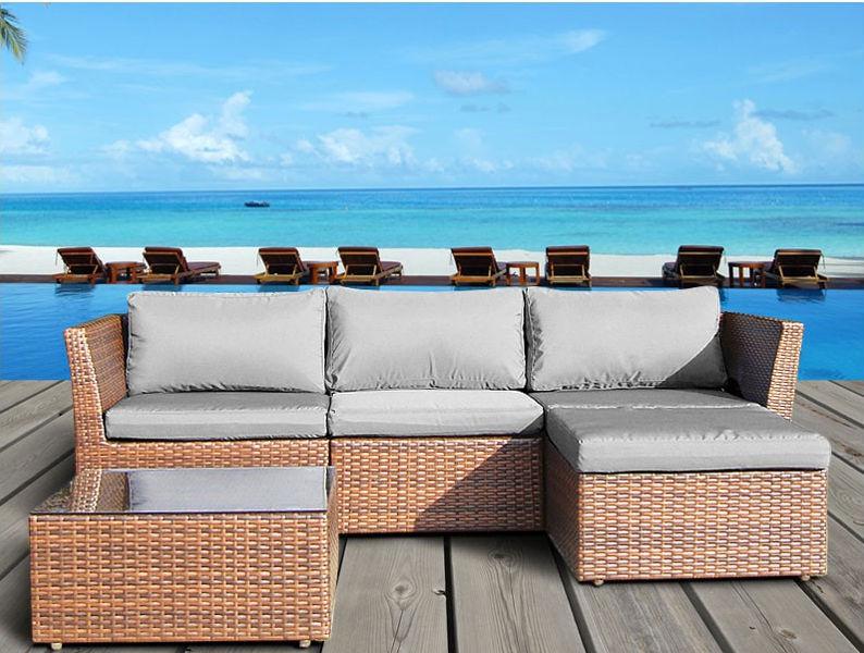 popular saln de mimbre al aire libre barato sof en forma de lchina