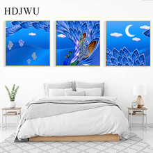 Nordic Canvas Painting Wall Picture Retro Peacock Printing Posters Pictures for Living Room Decor DJ132