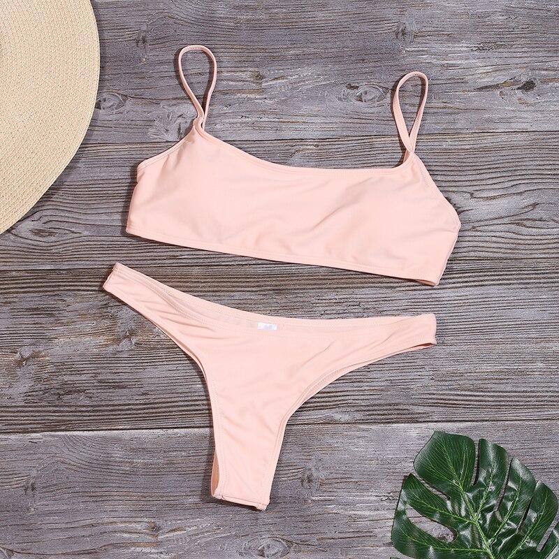 HTB1MXdCVY2pK1RjSZFsq6yNlXXa1 Lefeel 2019 Sexy Bikini Set Women Swimsuit Solid Bikini Backless Swimwear Low Waist Bathing Suit Female Brazilian Biquini