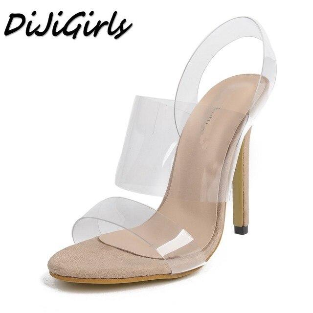 4159bcd431b DiJiGirls women Fashion Open toe Transparent sandals ladies pumps high  heels shoes woman Slip-On party wedding stiletto shoes