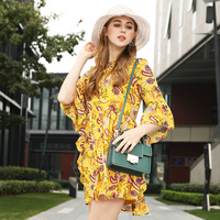 2018 Spring New Short Dress Large Size Half Flare Sleeve Ruffles Loose Chiffon Dress For Female