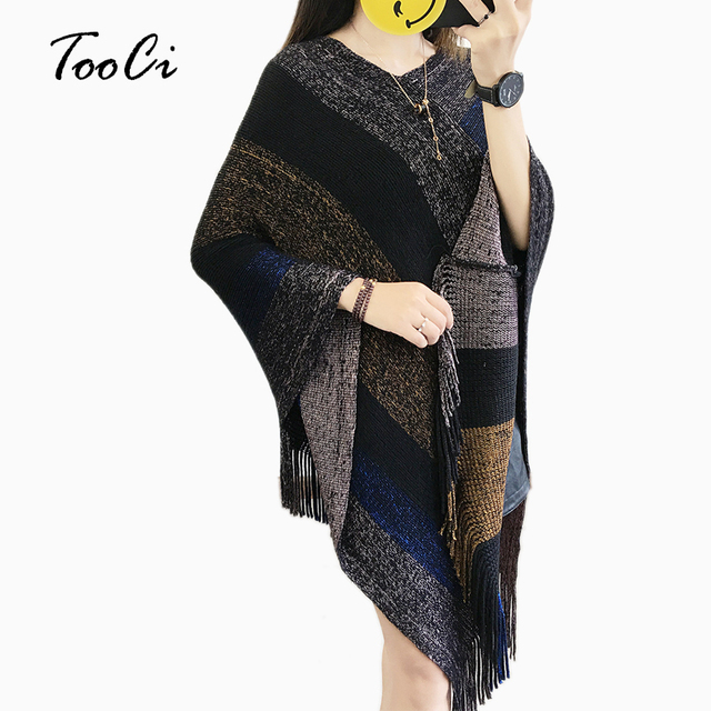 Women Sweaters And Pullovers Black Tassel Ponchos And Capes Knit