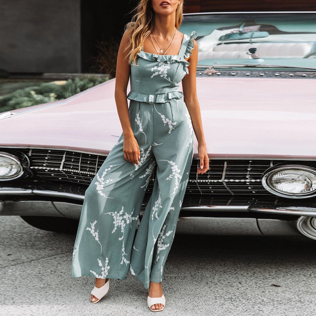 Casual Women Jumpsuit Ruffled Print Sleeveless Jumpsuit Summer Ladies High Waisted Playsuit Bohemian Off Shoulde Jumpsuit women