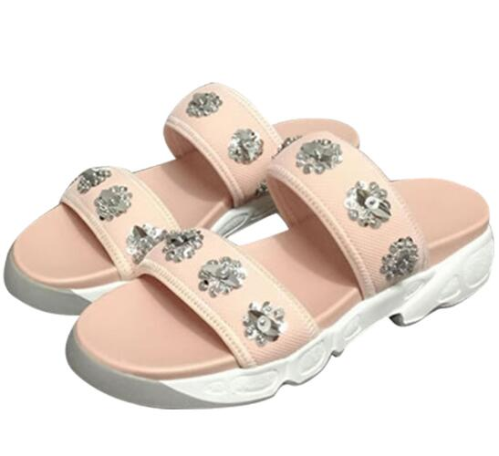 Summer newest woman slipper 2017 luxury crystal embellished flat sandal sexy open toe rhinestones flower shoes pink black white  2017 newest summer black brown leather sandal for woman sexy open toe flat crystal sandal sequins bead t strap buckle shoes