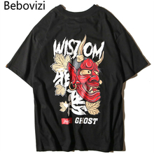 Bebovizi Brand 2018 Summer Japanese Style Evil Ghost Printed Tops Tees Mens Chinese Character T Shirts Hip Hop Cotton Tshirts