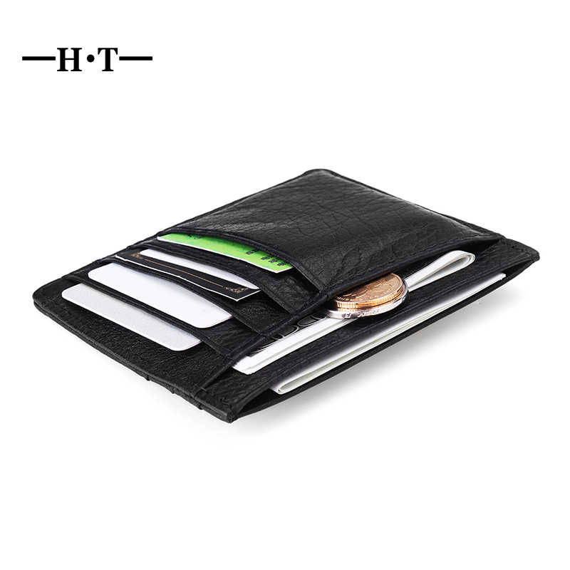 5a856753d555 HT 100% Genuine Leather Men Slim Bank Credit Card Holder Money Coin Purse Case  Business