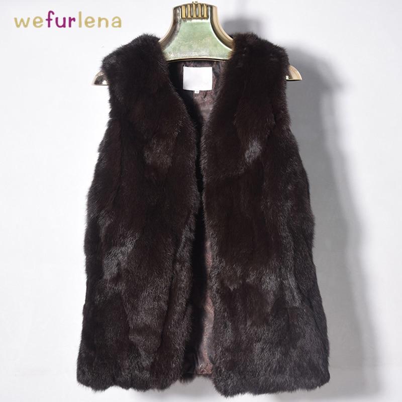 Nouveau automne hiver mode lapin fourrure gilet de haute qualité réel fourrure manteaux pour femmes femme naturel fourrure gilet Out porter longs gilets
