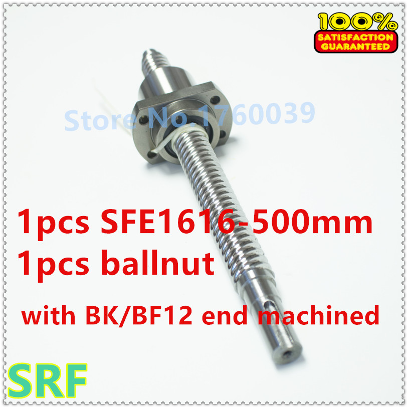 Dia:16mm Lead:16mm Rolled Ballscrew 1pcs SFE1616 High lead Ball screw L=500mm+1pcs single ballnut with BK/BF12 end processing hot sale 1pcs 1604 rolled ball lead screw length 600mm 1pcs sfu1604 single ballnut 1set bk bf12 ballscrew end support cnc