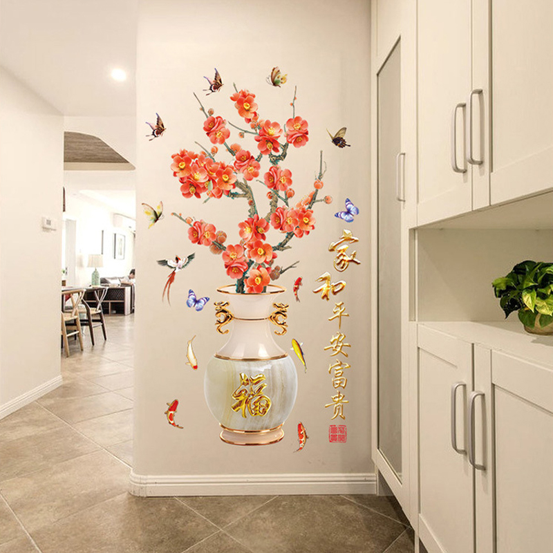 Chinese Plum Flowers Birds Butterfly Stickers Muraux Elegant Retro china Vase Fu Pattern 3d Wall Sticker Window Home Decor XN191 ...