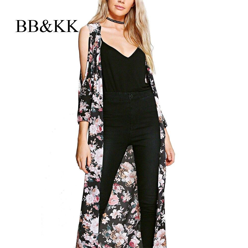 Dames Blouse met bloemenprint Lange Kimono-cardigan Elegent - Dameskleding