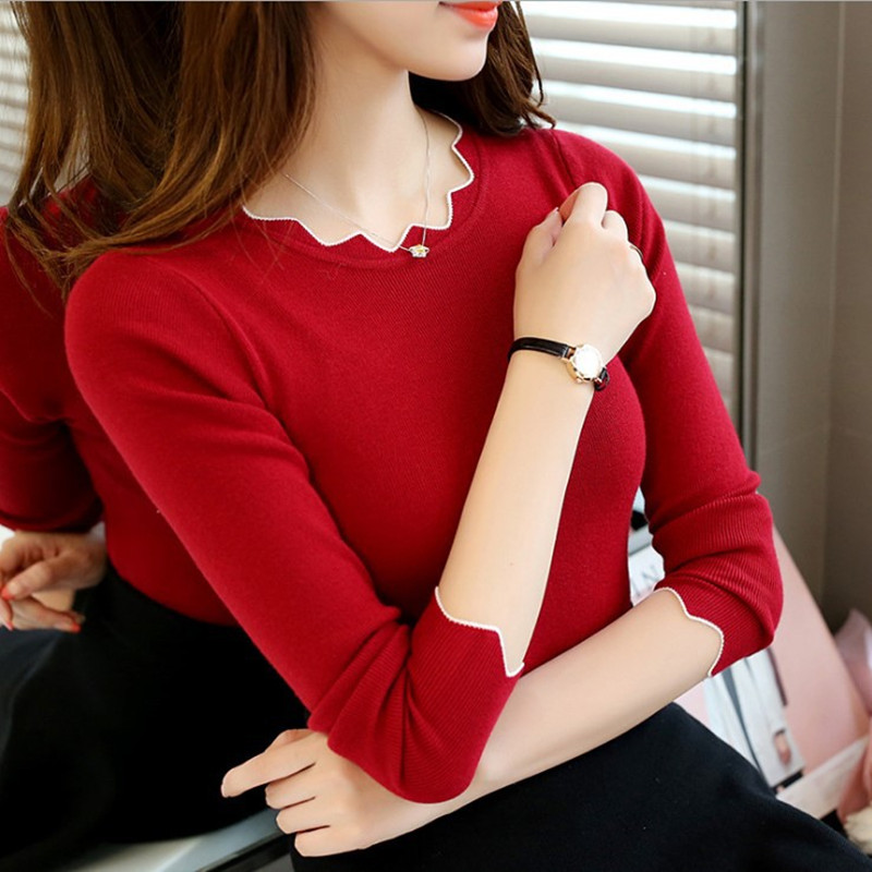 Danjeaner Korean Style Women Sweater Pullover Basic Rib Knitted Cotton Tops Solid Lace O Neck Essential Jumper Long Sleeve Pull