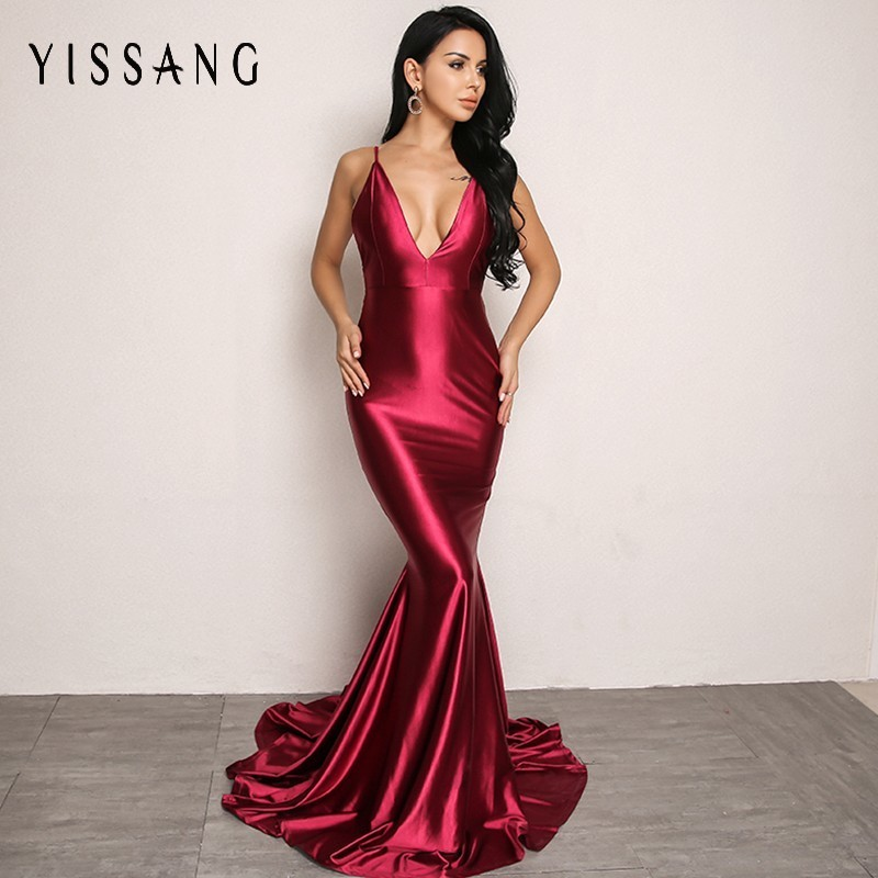 Yissang Red Green Long Dress Women Sexy Backless Floor Length High Waist Dress V Neck Bodycon Evening Club Party Maxi Dresses