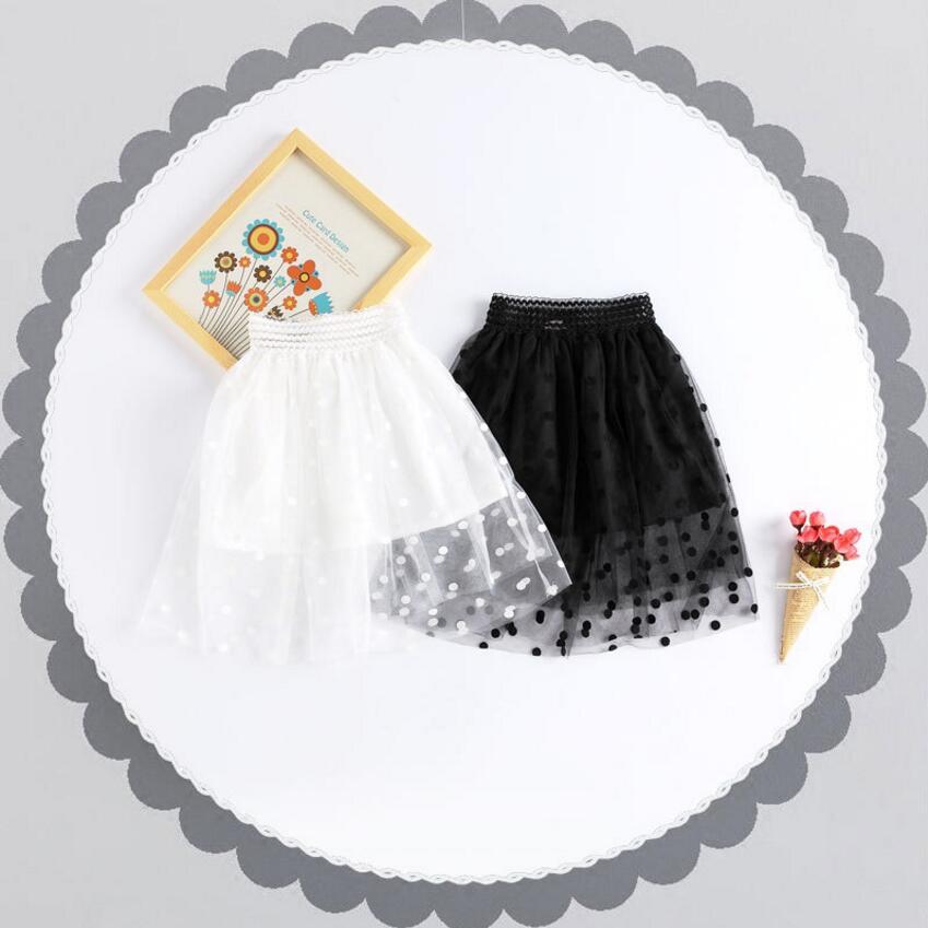 Kid New Dot Long Tulle юбка Elegant Pleated Tutu юбки Қыздар Vintage Lolita Petticoat faldas mujer Saias Jupe Tutus 2018 Бала