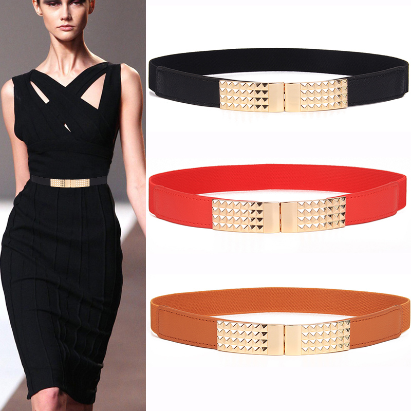 Free Shipping Newest Hot Sale Waistbands For Women Thin Red Elastic Cummerbunds Stretch Belt For Ladies Female Dress Accessories