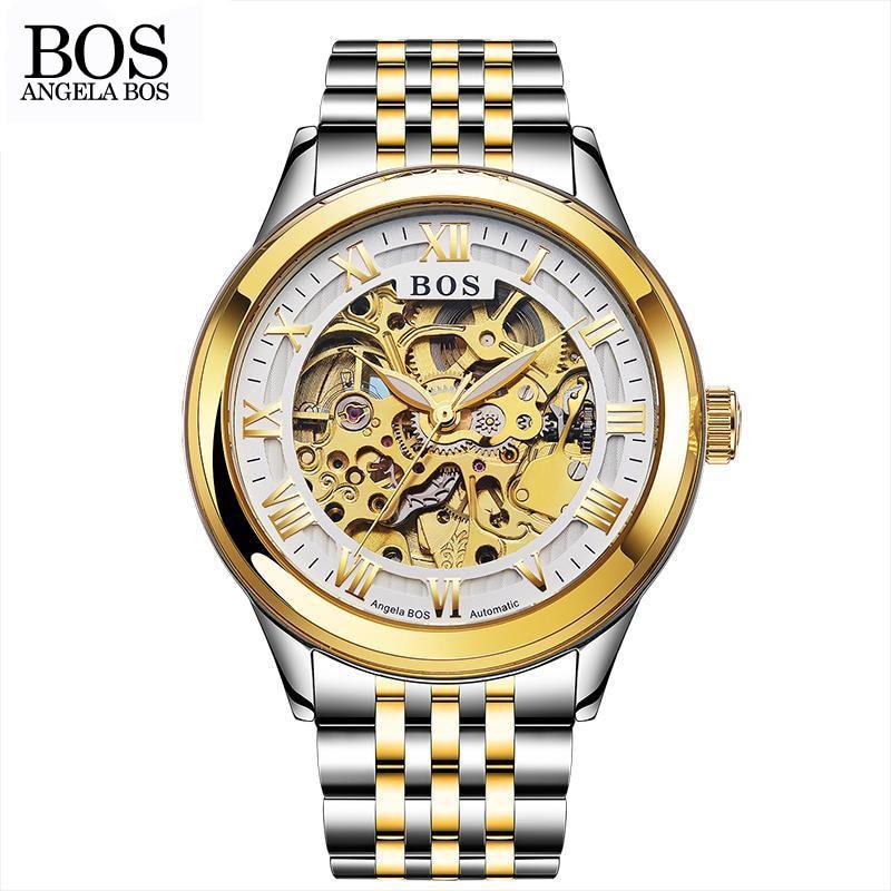 ANGELA BOS Relojes mecánicos automáticos para hombres Oro Esqueleto - Relojes para hombres - foto 3