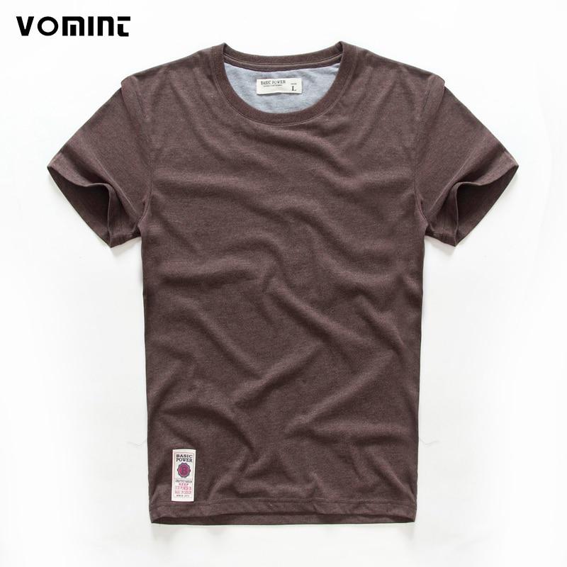 VOMINT hot sale New short sleeve men solid t-shirt o-neck soft solid cotton elastic breathable men half-sleeved t-shirt 4 Color 1