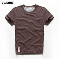 VOMINT hot sale New short sleeve men solid t-shirt o-neck soft solid cotton elastic breathable men half-sleeved t-shirt 4 Color
