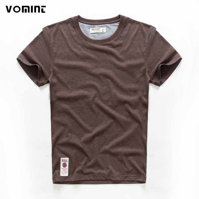 VOMINT hot sale New short sleeve men solid t-shirt o-neck soft solid cotton elastic breathable men half-sleeved t-shirt 4 Color(China)
