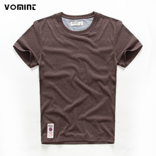 VOMINT hot sale New short sleeve men solid t-shirt o-neck soft solid cotton elastic breathable men half-sleeved t-shirt 4 Color