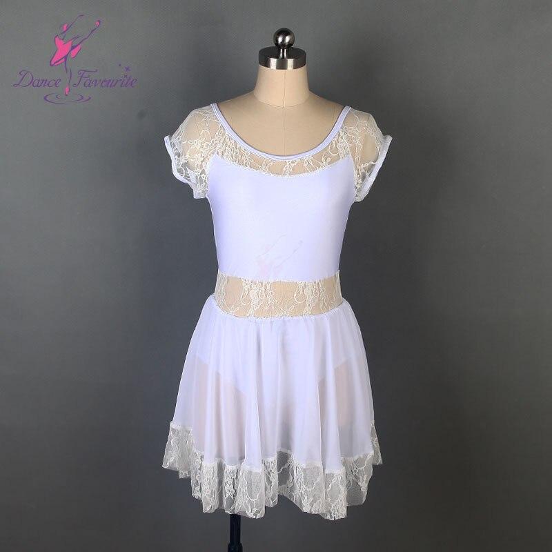 Robe de ballet blanc Spandex fille et femmes performance costume de ballet robe de danse lyrique avec dentelle blanche