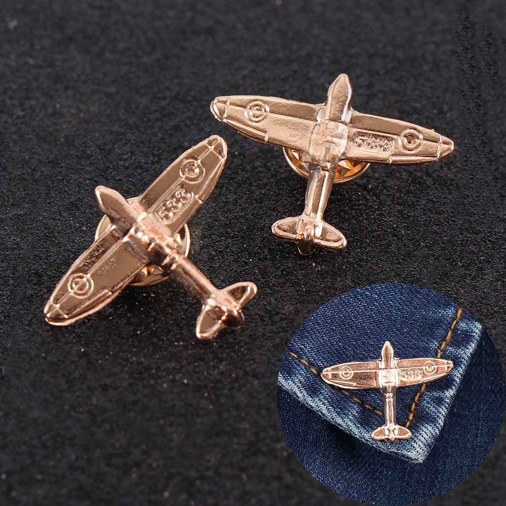 1pair Airplane Brooch Retro Pilot Brooches Pins Mini Airplane Pin On backpack Airplane Badges Lapel Pins Men Clothes Decor Badge image