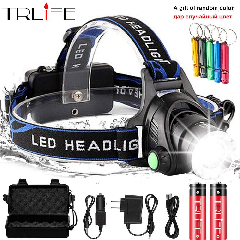 LED faro 10000lum Led faro V6/L2/T6 Zoom linterna antorcha linterna de la lámpara de la cabeza 2*18650 batería de la pesca agregar un regalo