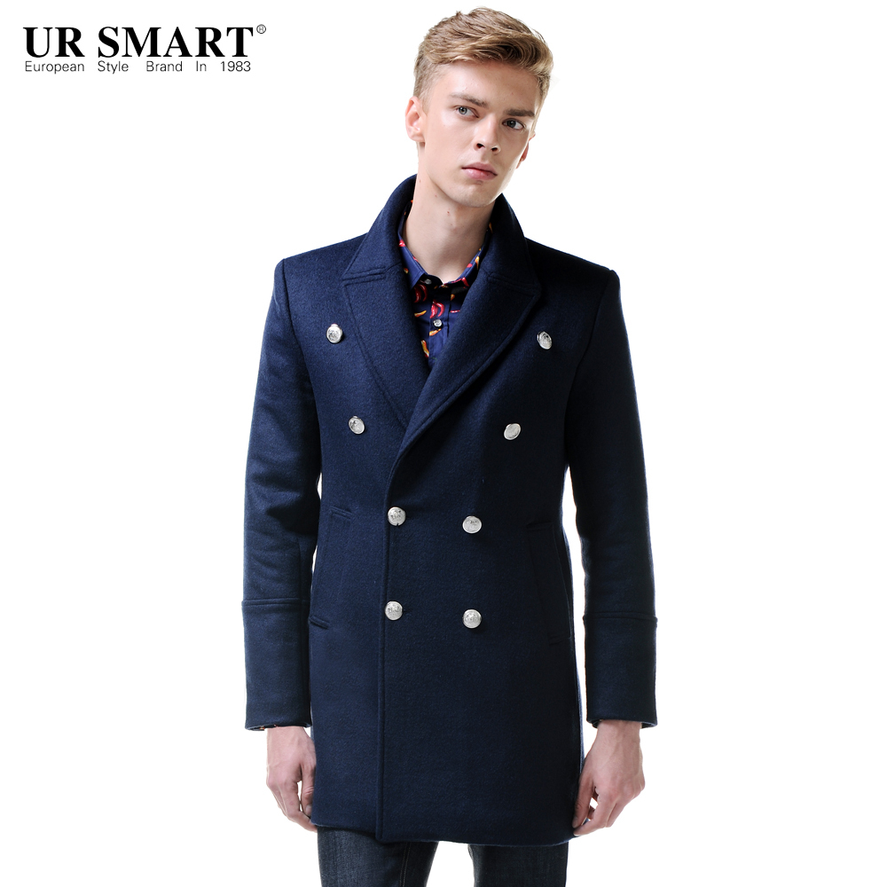 f6c2463bbff URSMART New Listing double breasted long section of dark blue wool coat  jacket male coat jacket-in Wool   Blends from Men s Clothing on  Aliexpress.com ...