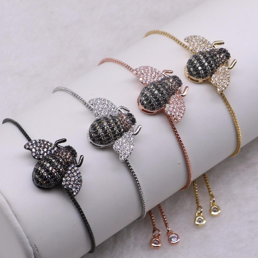 High quality Bugs inset Bracelet Fashion metal chain bracelet Mix color tiny bee bracelet jewelry Gems for lady 3278