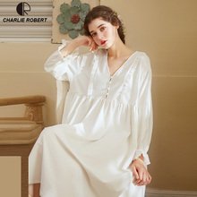 Noble Sleepwear Cotton Dress Gown Elegant Nightgown Vintage Long