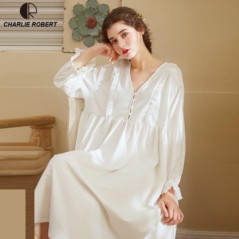 Nobre Sleepwear Vestido De Algodão Vestido de Camisola Elegante Do Vintage Longo Vestido de Manga Comprida Vestido de Noite Branco Casa Roupas Para Mulheres