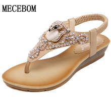 2016 Summer Style Wedges Sandals With Rhinestone Crystal Female Fashion Sexy Bling Platform Flip Flops Casual Shoes Woman