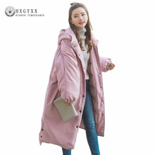 Winter Jacket Women 2018 X-Long Oversize Down Cotton Outwear Solid Warm Hooded Coat Zipper Padded Military Parka Okb225