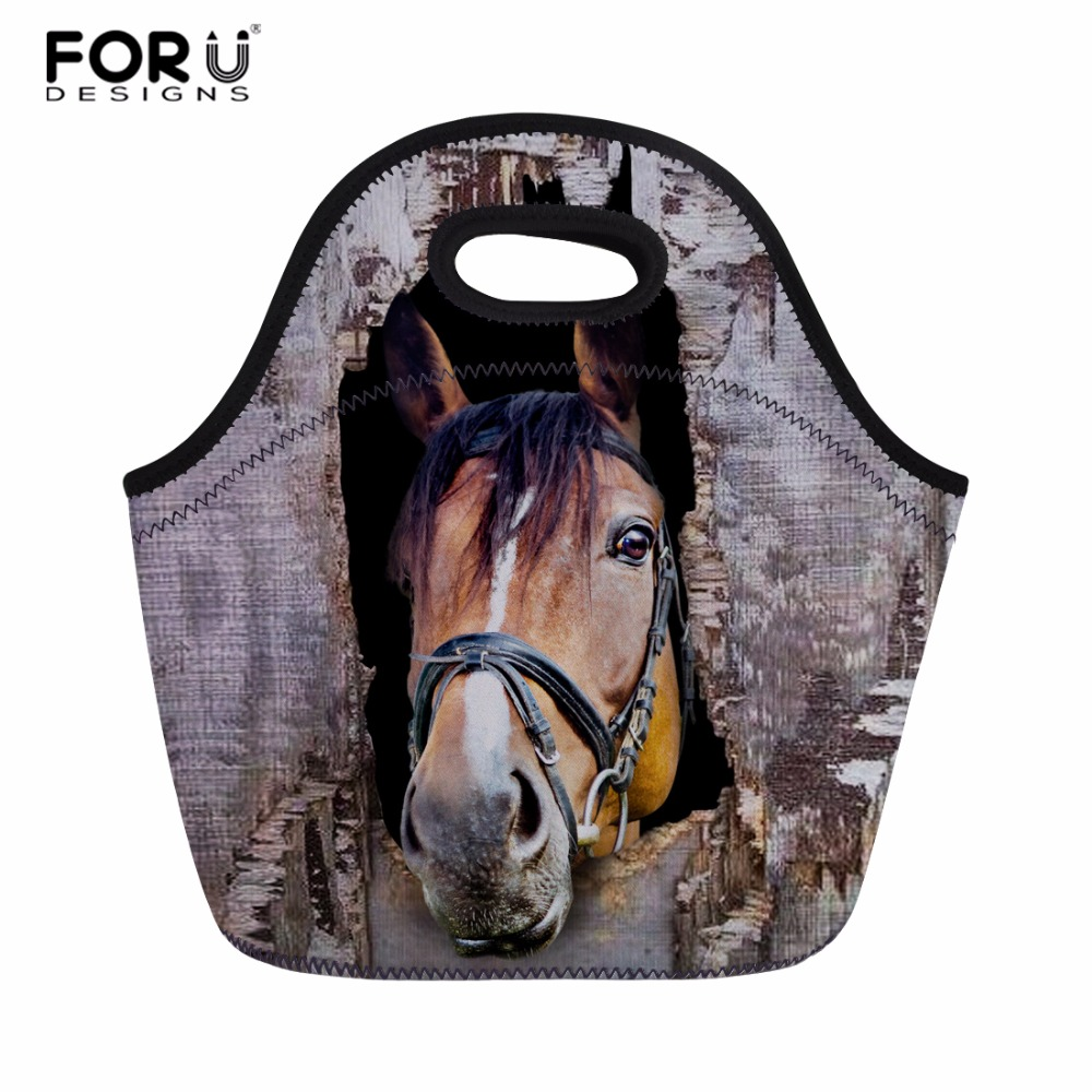 FORUDESIGNS Horse Printing Insulated Thermal Food Lunch Bags for Factory Portable Women Kids Picnic Cooler Lunch Box Tote Bag