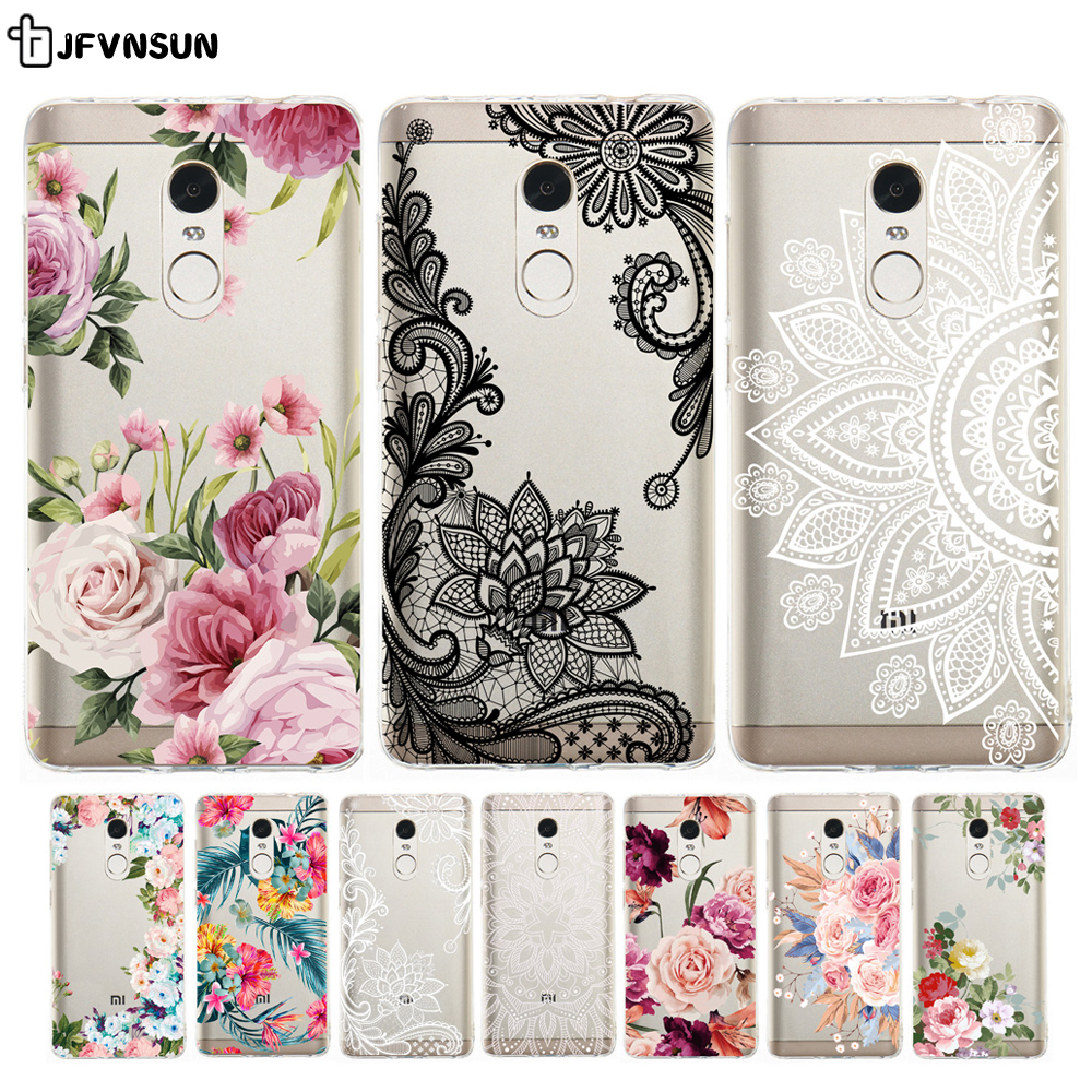 Case Flower-Skin Redmi Note Clear Xiaomi for 4x-Cover Relief 3D on